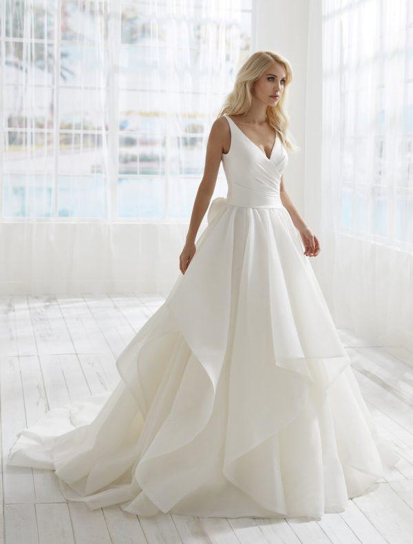 Sleeveless V-neckline A-line Wedding Dress With Bow Detailing by Randy Fenoli - Image 1