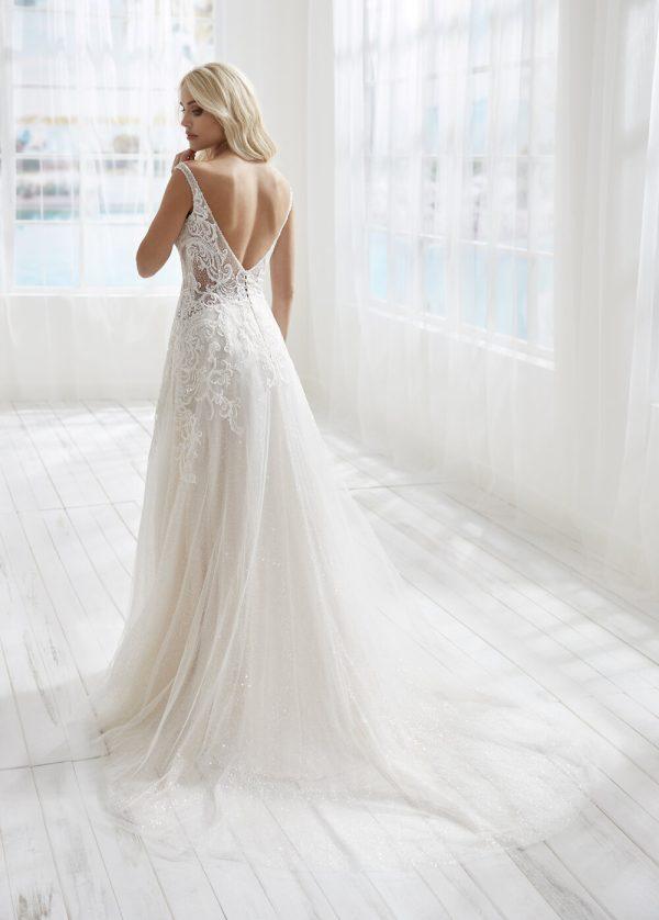 Sleeveless V-neckline Beaded Lace A-line Wedding Dress by Randy Fenoli - Image 2