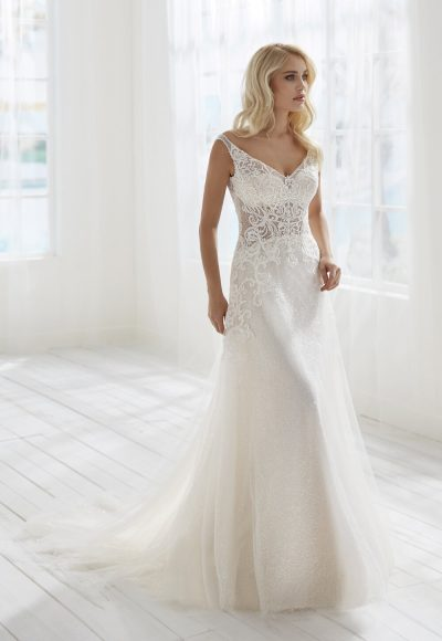 Sleeveless V-neckline Beaded Lace A-line Wedding Dress by Randy Fenoli