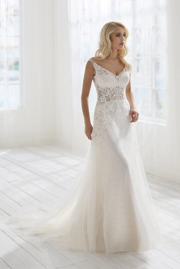 Sleeveless V-neckline Beaded Lace A-line Wedding Dress by Randy Fenoli - Image 1