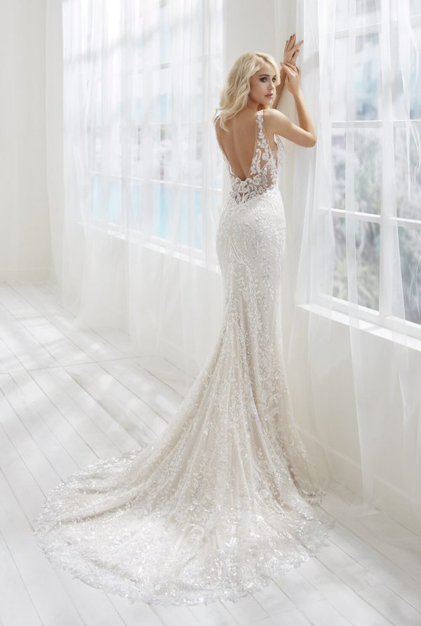 V-neckline Sleeveless Beaded Lace Sheath Wedding Dress by Randy Fenoli - Image 2