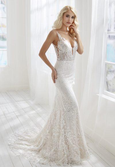 V-neckline Sleeveless Beaded Lace Sheath Wedding Dress by Randy Fenoli