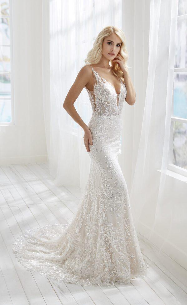 V-neckline Sleeveless Beaded Lace Sheath Wedding Dress by Randy Fenoli - Image 1