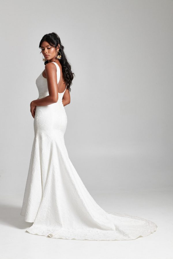 Sleeveless V-neckline Fit And Flare Wedding Dress by Rebecca Schoneveld - Image 2