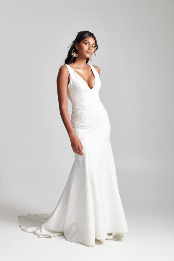 Sleeveless V-neckline Fit And Flare Wedding Dress by Rebecca Schoneveld - Image 1