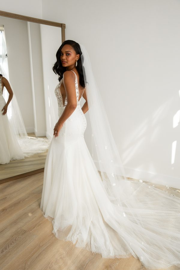Sleeveless V-neckline Fit And Flare Wedding Dress With Embroidered Lace Bodice And Tulle Skirt by Rebecca Schoneveld - Image 2