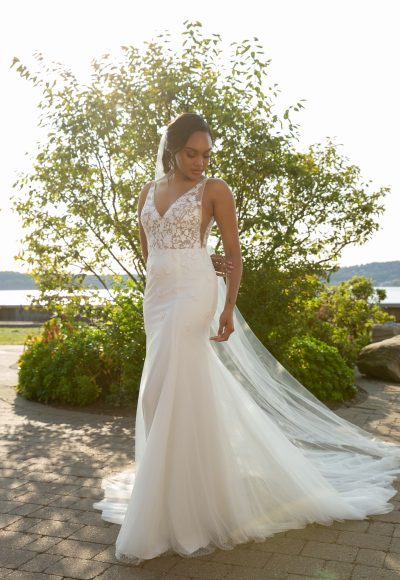 Sleeveless V-neckline Fit And Flare Wedding Dress With Embroidered Lace Bodice And Tulle Skirt by Rebecca Schoneveld
