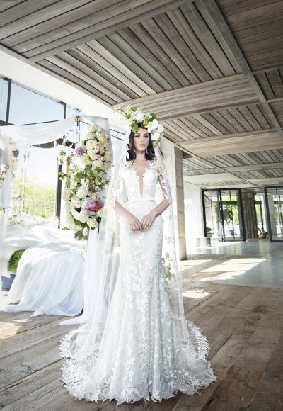 Lace Fit And Flare Wedding Dress With Deep V-neckline by Yumi Katsura
