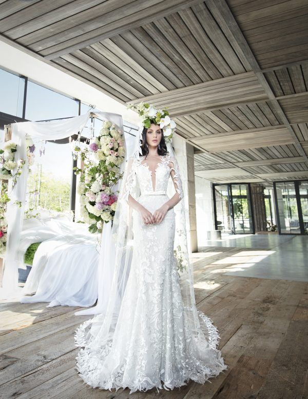Lace Fit And Flare Wedding Dress With Deep V-neckline by Yumi Katsura - Image 1