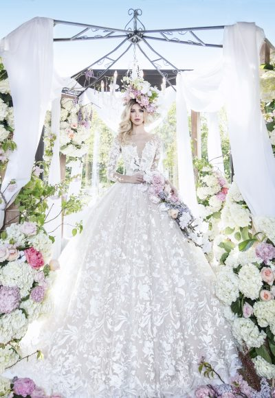 Long Sleeve Illusion V-neckline Ball Gown Lace Wedding Dress by Yumi Katsura