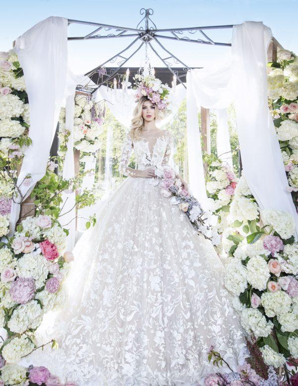 Long Sleeve Illusion V-neckline Ball Gown Lace Wedding Dress by Yumi Katsura - Image 1
