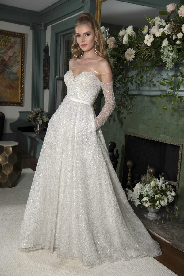 Long Sleeve Off The Shoulder Beaded Lace A-line Wedding Dress With Sheer Illusion by Yumi Katsura - Image 1