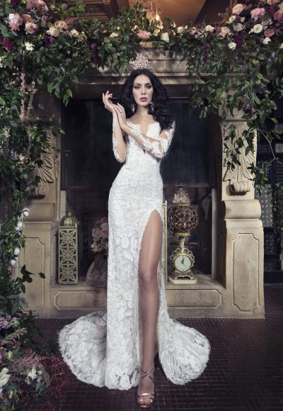 Long Sleeve Sheath Wedding Dress With Beaded Lace And Front Slit by Yumi Katsura