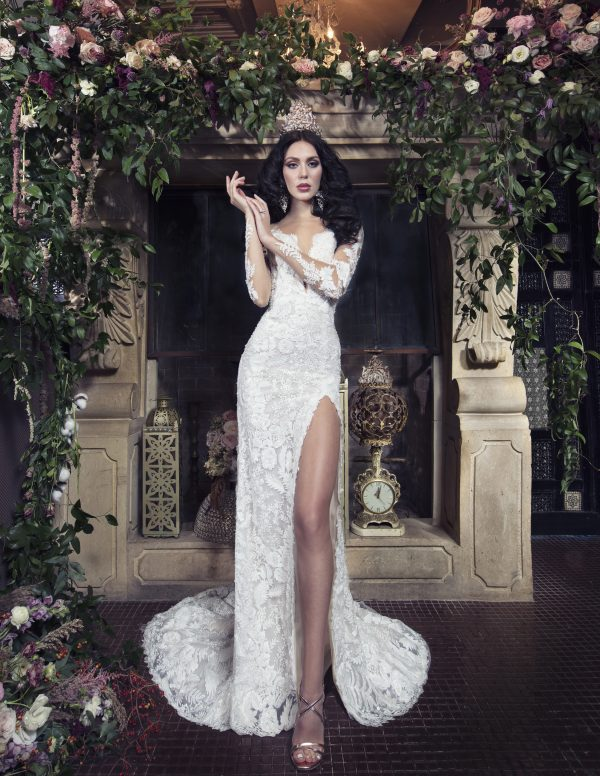 Long Sleeve Sheath Wedding Dress With Beaded Lace And Front Slit by Yumi Katsura - Image 1