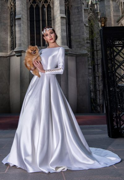 Long Sleeve Simple Silk Ball Gown Wedding Dress by Yumi Katsura