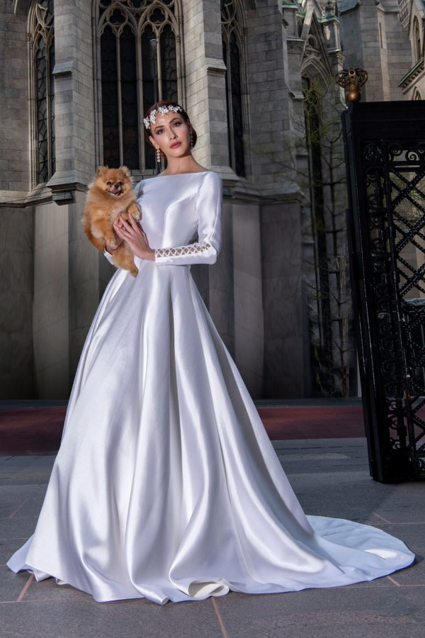 Long Sleeve Simple Silk Ball Gown Wedding Dress by Yumi Katsura - Image 1