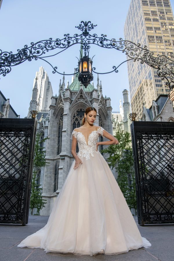 Off The Shoulder A-line Wedding Dress With Lace Bodice And Tulle Skirt by Yumi Katsura - Image 1