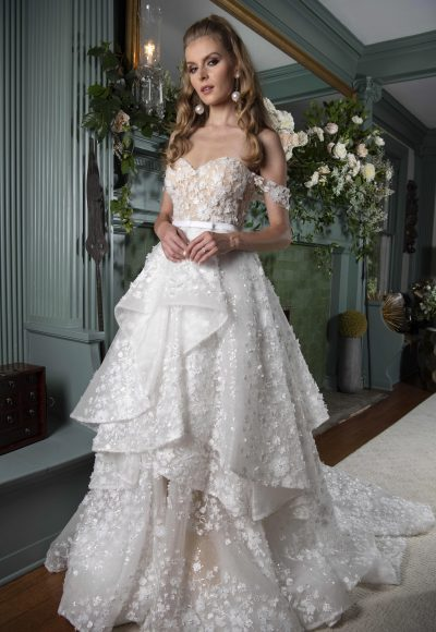 Off The Shoulder Ball Gown Wedding Dress With Floral Lace Details by Yumi Katsura