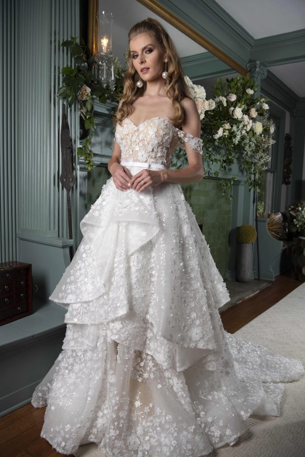 Off The Shoulder Ball Gown Wedding Dress With Floral Lace Details by Yumi Katsura - Image 1