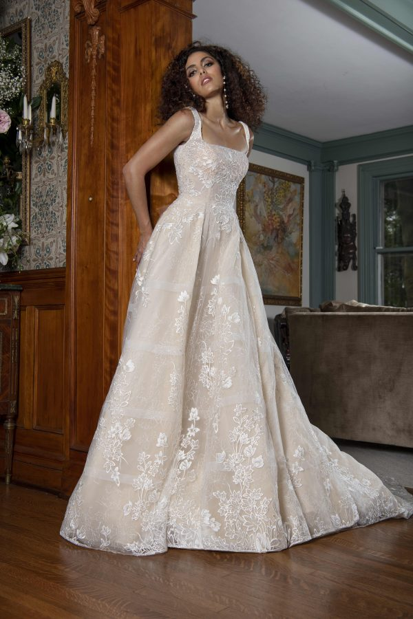 Sleeveless Square Neckline A-line Wedding Dress With Applique Throughout by Yumi Katsura - Image 1