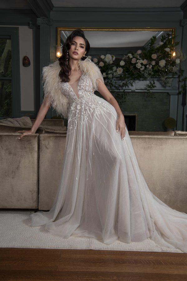 Sleeveless V-neckline A-line Wedding Dress With Embellishments Throughout by Yumi Katsura - Image 1