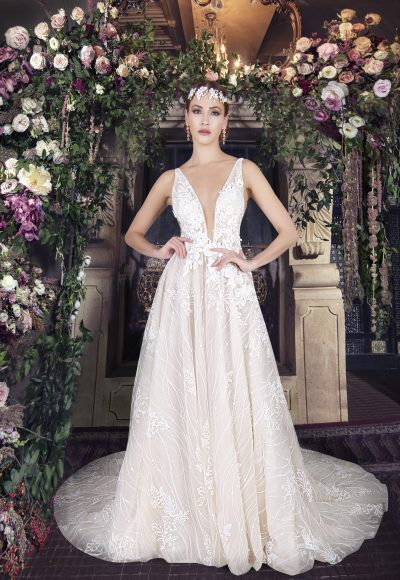 Sleeveless V-neckline A-line Wedding Dress With Floral Lace by Yumi Katsura