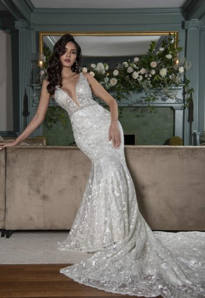 Sleeveless V-neckline Fit And Flare Wedding Dress With Embroideries Throughout And Beaded Belt by Yumi Katsura