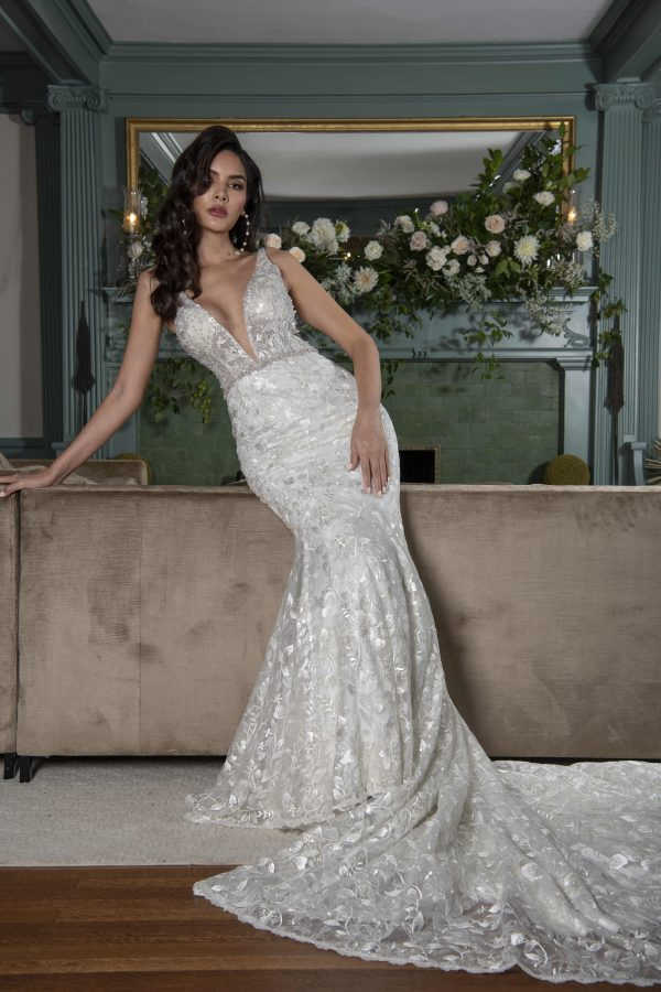 Sleeveless V-neckline Fit And Flare Wedding Dress With Embroideries Throughout And Beaded Belt by Yumi Katsura - Image 1