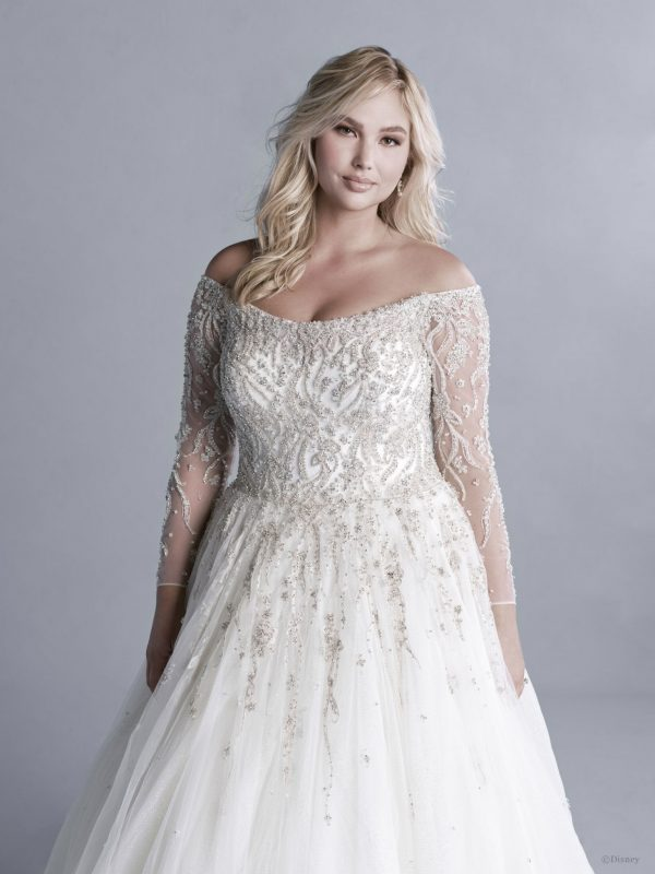 OFF-THE-SHOULDER 3/4 SLEEVE CRYSTAL BEADED BALL GOWN WEDDING DRESS WITH GLITTER TULLE by Disney Fairy Tale Weddings Platinum Collection - Image 2