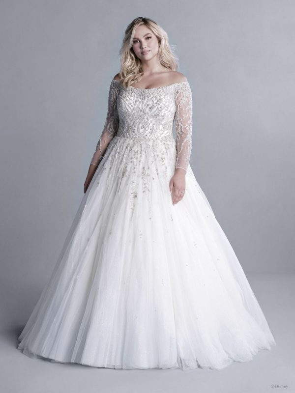 OFF-THE-SHOULDER 3/4 SLEEVE CRYSTAL BEADED BALL GOWN WEDDING DRESS WITH GLITTER TULLE by Disney Fairy Tale Weddings Platinum Collection - Image 1