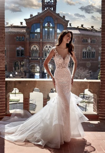 Cap Sleeve V-neckline Mermaid Wedding Dress with Lace Bodice and Ruffled Tulle Skirt by Pronovias x Kleinfeld