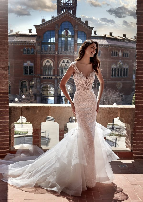 Cap Sleeve V-neckline Mermaid Wedding Dress with Lace Bodice and Ruffled Tulle Skirt by Pronovias x Kleinfeld - Image 1