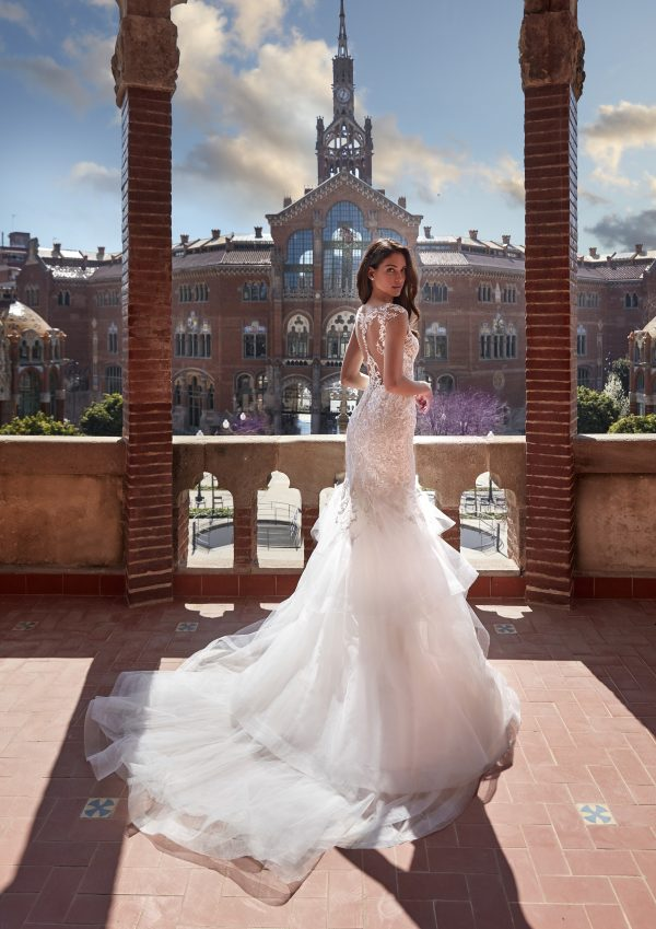 Cap Sleeve V-neckline Mermaid Wedding Dress with Lace Bodice and Ruffled Tulle Skirt by Pronovias x Kleinfeld - Image 2