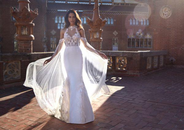 Sleeveless Illusion High Neck Sheath Wedding Dress with Beaded Bodice by Pronovias x Kleinfeld - Image 2