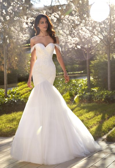 Strapless Sweetheart Neckline Ruched Mermaid Wedding Dress with Beaded Bodice and Tulle Skirt by Pronovias x Kleinfeld