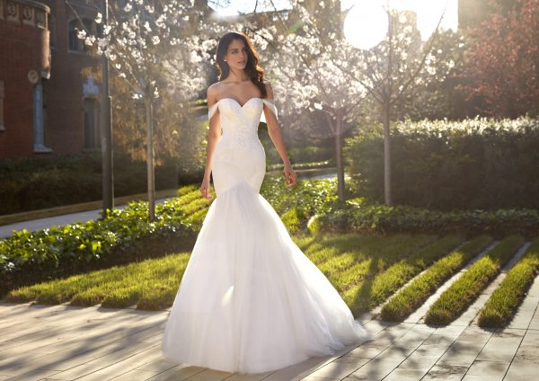Strapless Sweetheart Neckline Ruched Mermaid Wedding Dress with Beaded Bodice and Tulle Skirt by Pronovias x Kleinfeld - Image 1