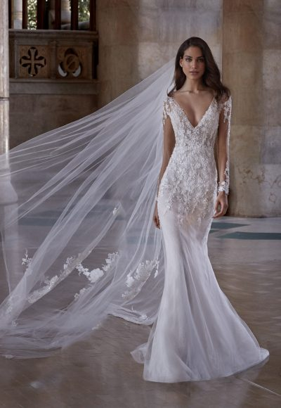 Long Sleeve V-neckline Illusion Wedding Dress with Beading Throughout by Pronovias x Kleinfeld