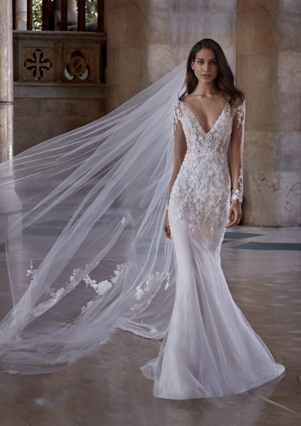 Long Sleeve V-neckline Illusion Wedding Dress with Beading Throughout by Pronovias x Kleinfeld - Image 1
