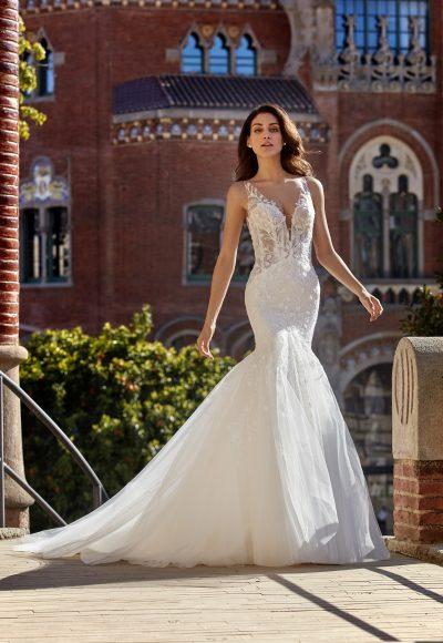 Sleeveless V-neckline Mermaid Wedding Dress with 3D Leaves Throughout by Pronovias x Kleinfeld