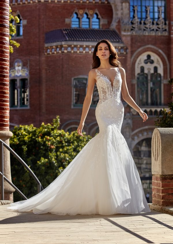 Sleeveless V-neckline Mermaid Wedding Dress with 3D Leaves Throughout by Pronovias x Kleinfeld - Image 1