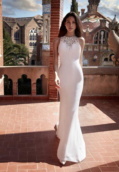 Sleeveless Crepe Sheath Wedding Dress with Beaded Neckline by Pronovias x Kleinfeld