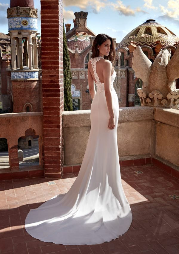 Sleeveless Crepe Sheath Wedding Dress with Beaded Neckline by Pronovias x Kleinfeld - Image 2