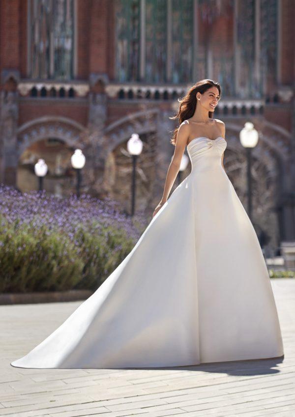 Strapless Sweetheart Neckline Ball Gown Mikado Wedding Dress by Pronovias x Kleinfeld - Image 1