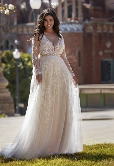 Long sleeve v-neckline A-line wedding dress with beading and lace by Pronovias x Kleinfeld