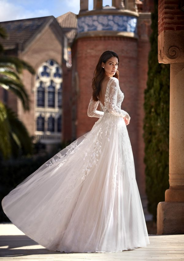 Long Sleeve V-neckline A-line Wedding Dress with Beading and Lace by Pronovias x Kleinfeld - Image 2