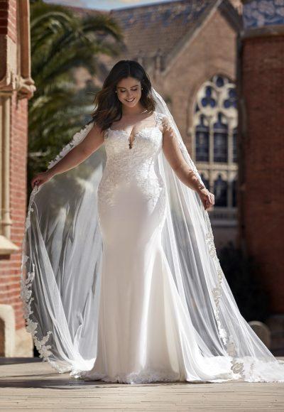 Sleeveless Crepe Sheath Wedding Dress with Lace Details by Pronovias x Kleinfeld