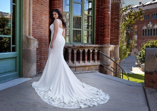 Sleeveless Crepe Sheath Wedding Dress with Lace Details by Pronovias x Kleinfeld - Image 2