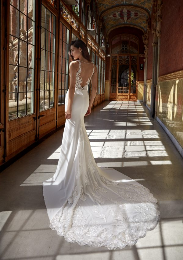 Sleeveless V-neckline Sheath Wedding Dress with Beaded Lace Bodice and Crepe Skirt by Pronovias x Kleinfeld - Image 2