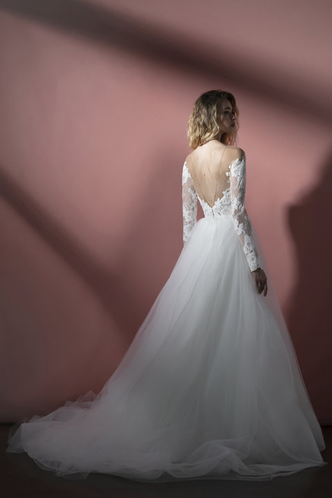 Long Sleeve Illusion A-line Wedding Dress With Lace Bodice And Tulle Skirt by BLUSH by Hayley Paige - Image 2