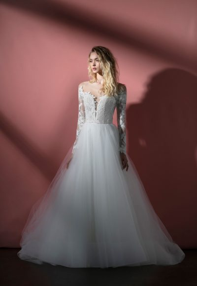 Long Sleeve Illusion A-line Wedding Dress With Lace Bodice And Tulle Skirt by BLUSH by Hayley Paige